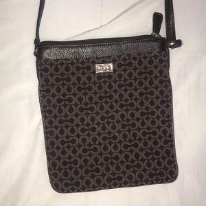 COACH brown fabric/leather crossbody purse